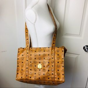 Authentic MCM shoulder Bag PVC Light Brown 118028
